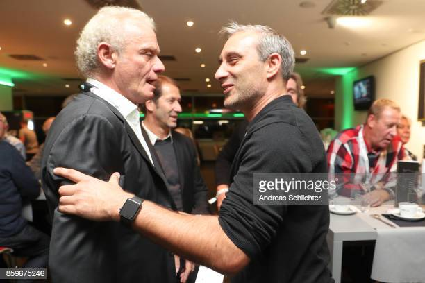 HansPeter Briegel and Marco Reich at the club of former national players meeting after the FIFA 2018 World Cup Qualifier between Germany and...