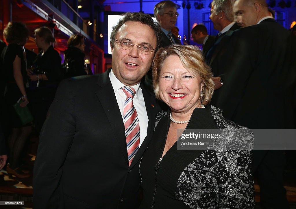 Hans-Peter Friedrich and Cordula Pieper attend the '8. Nacht der Sueddeutschen Zeitung' at Deutsche Telekom representative office on January 14, 2013 in Berlin, Germany.