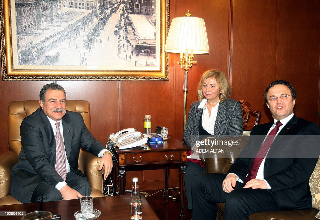 Hans-Peter Friedrich, German Federal Minister of the Interior, (R) and his Turkish counterpart Muammer Guler (L) attend a meeting in Ankara, on February 7, 2013.