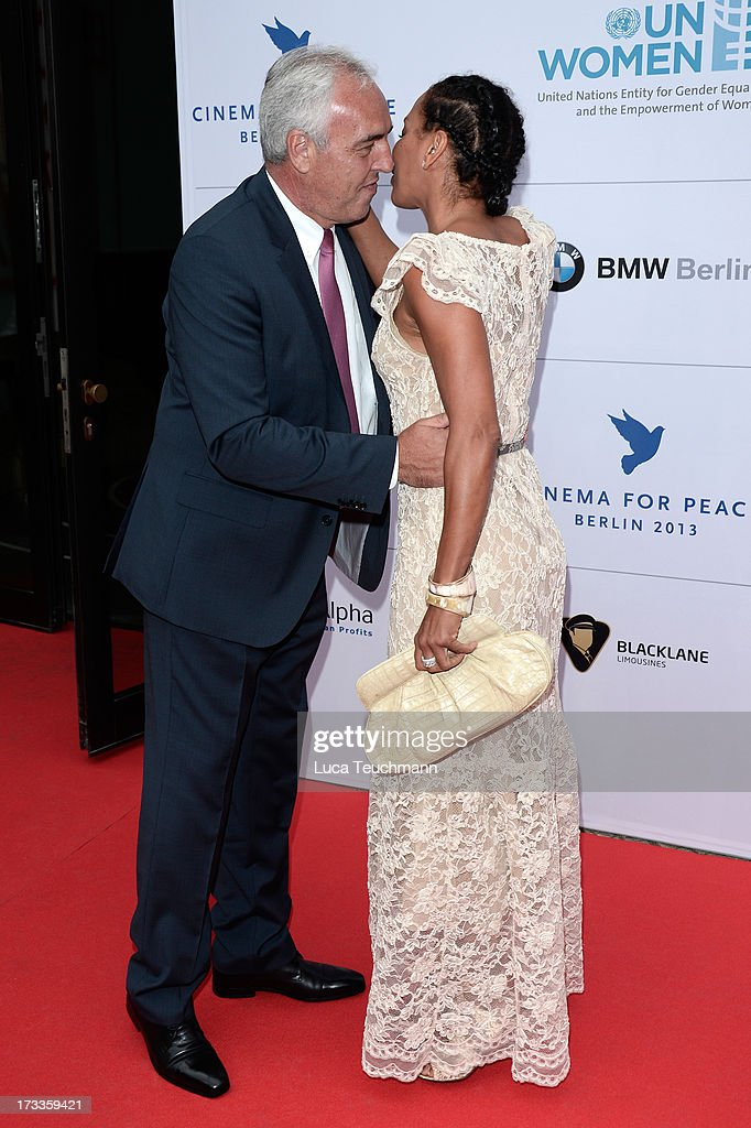 Hans-Rainer Schroeder and Barbara Becker arrive for the Cinema for Peace UN women honorary dinner at Soho House on July 12, 2013 in Berlin, Germany.