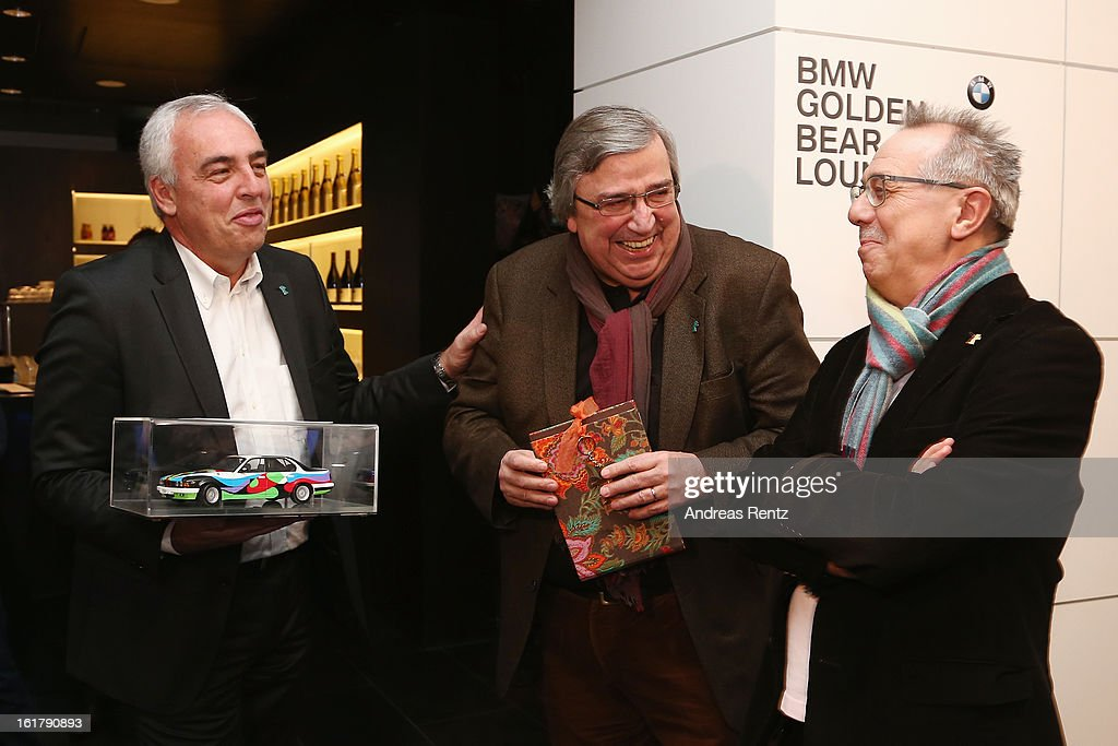 Hans-Reiner Schroeder (BMW), Alfred Hillen (ZDF) and <a gi-track='captionPersonalityLinkClicked' href=/galleries/search?phrase=Dieter+Kosslick&family=editorial&specificpeople=213030 ng-click='$event.stopPropagation()'>Dieter Kosslick</a> (Berlinale Director) attend 'BMW Golden Bear Lounge' at the 63rd Berlinale International Film Festival on February 16, 2013 in Berlin, Germany.