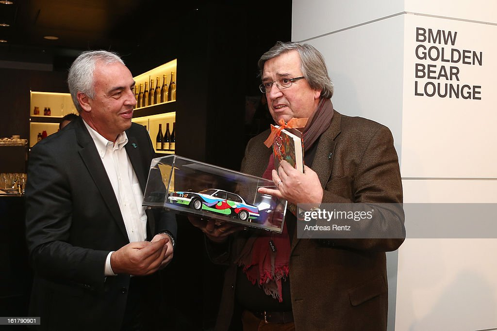 Hans-Reiner Schroeder (BMW) and Alfred Hillen (ZDF)attend 'BMW Golden Bear Lounge' at the 63rd Berlinale International Film Festival on February 16, 2013 in Berlin, Germany.