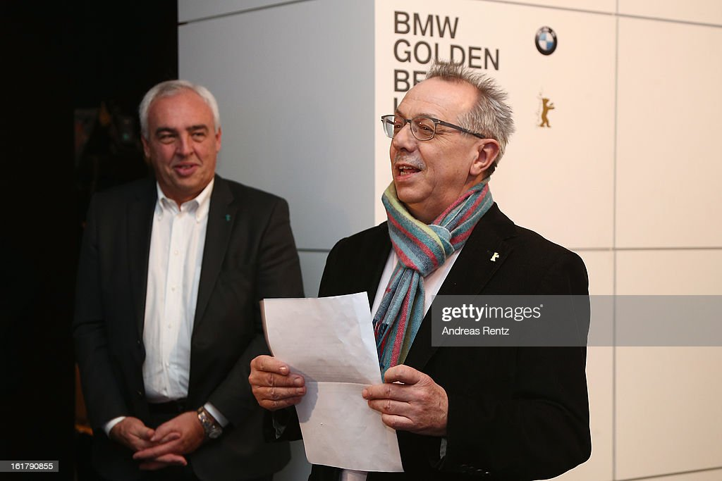 Hans-Reiner Schroeder (BMW) and <a gi-track='captionPersonalityLinkClicked' href=/galleries/search?phrase=Dieter+Kosslick&family=editorial&specificpeople=213030 ng-click='$event.stopPropagation()'>Dieter Kosslick</a> (Berlinake Director) attend 'BMW Golden Bear Lounge' at the 63rd Berlinale International Film Festival on February 16, 2013 in Berlin, Germany.
