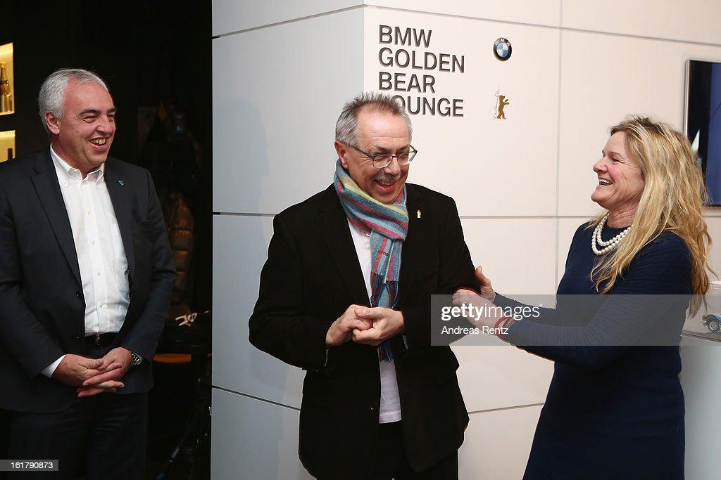 HansReiner Schroeder Dieter Kosslick and Ellen Kuras attend 'BMW Golden Bear Lounge' at the 63rd Berlinale International Film Festival on February 16...