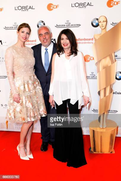 HansReiner Schroeder with his wife Katerina Schroeder and german actress Iris Berben attend the nominee dinner for the German Film Award 2017 Lola at...