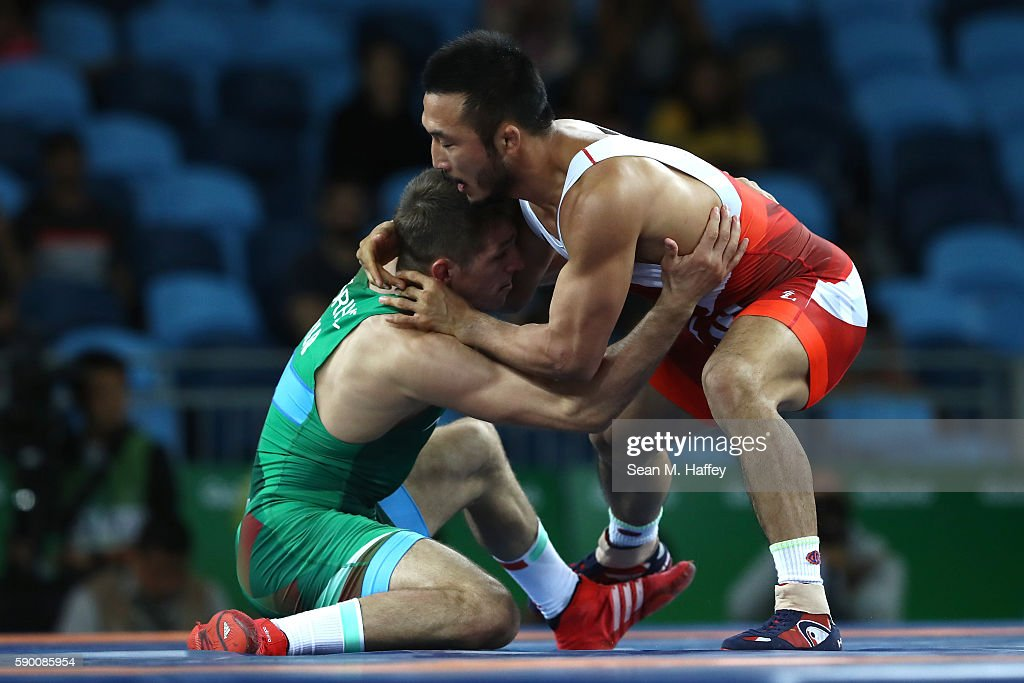 Hansu Ryu (R) of Korea competes against Tamas Lorincz (L) of Hungary in the Men's Greco-Roman 66 kg 1/8 Finals bout on Day 11 of the Rio 2016 Olympic Games at Carioca Arena 2 on August 16, 2016 in Rio de Janeiro, Brazil.