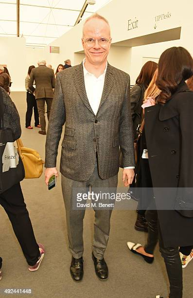 HansUlrich Obrist attends a VIP preview of the Frieze Art Fair 2015 in Regent's Park on October 13 2015 in London England
