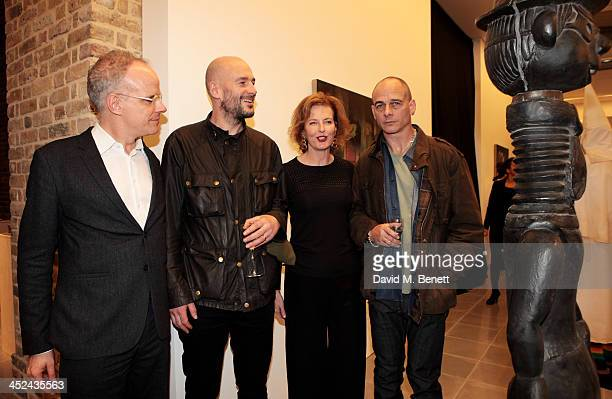 HansUlrich Obrist Jake Chapman Julia PeytonJones and Dinos Chapman attend the patron's private view of 'Jake and Dinos Chapman Come and See' a new...