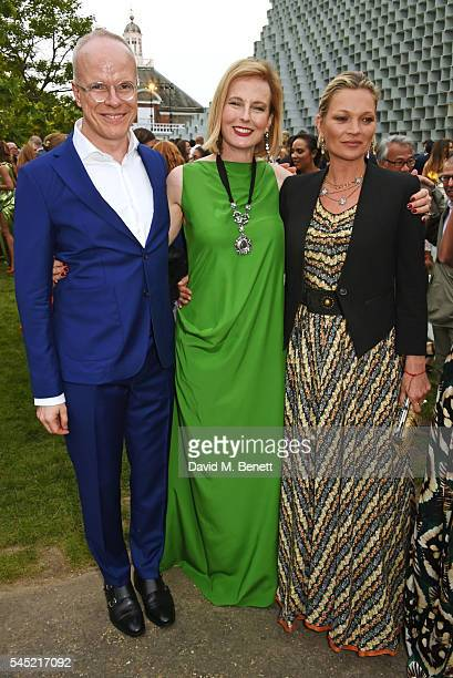 HansUlrich Obrist Julia Peyton Jones and Kate Moss attend The Serpentine Summer Party cohosted by Tommy Hilfiger on July 6 2016 in London England