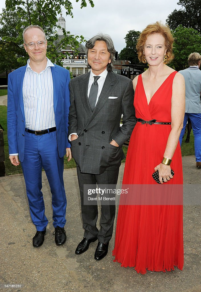 (L to R) Hans-Ulrich Obrist, Leon Max and Julia Peyton-Jones attend The Serpentine Gallery Summer Party sponsored by Leon Max at The Serpentine Gallery on June 26, 2012 in London, England.
