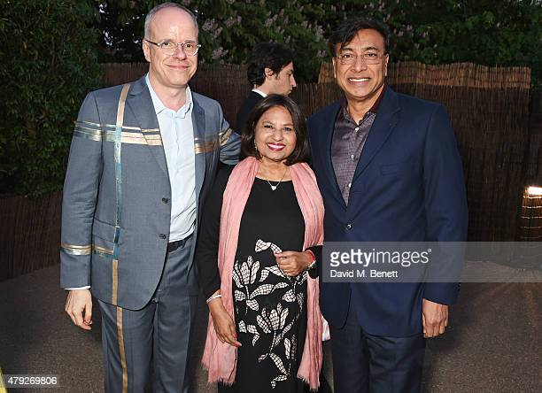 HansUlrich Obrist Usha Mittal and Lakshmi Mittal attend The Serpentine Gallery summer party at The Serpentine Gallery on July 2 2015 in London England