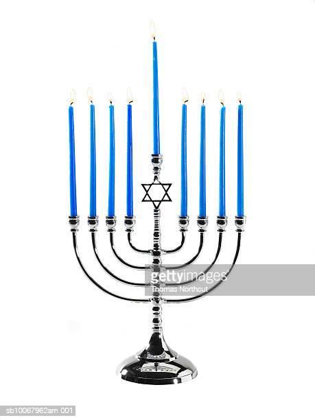 Hanukah menorah on white background