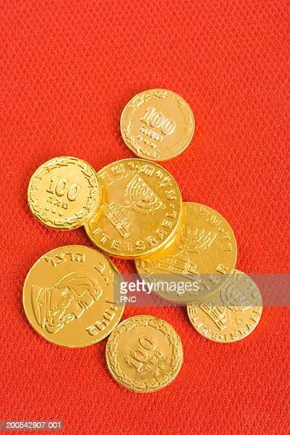 Hanukkah (gelt) coins, close-up