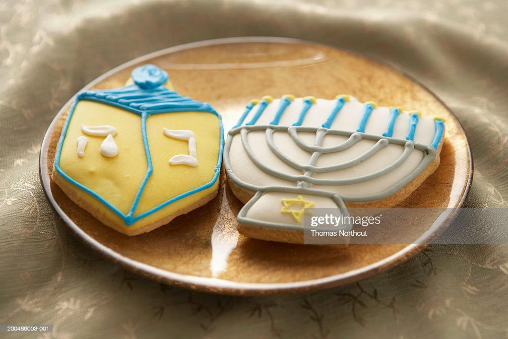 Hanukkah cookies on plate, elevated view