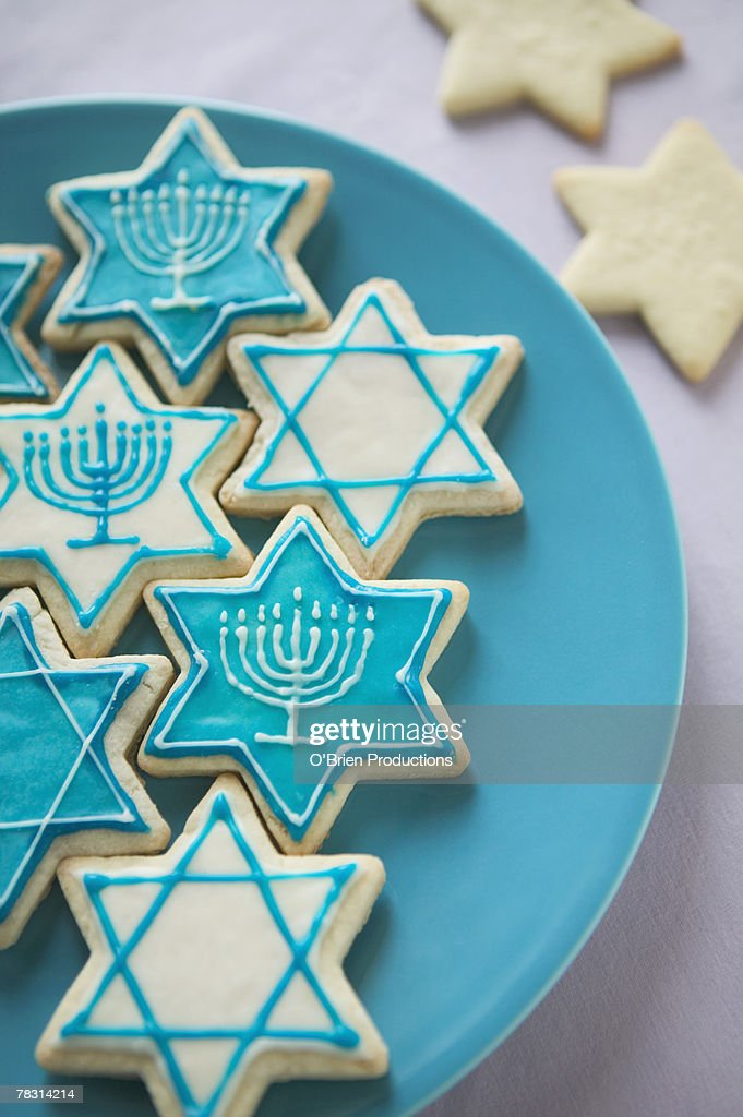 Hanukkah cookies on plate