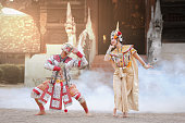 Hanuman and Suvannamaccha in Thai classical mask dance of the Ramayana drama