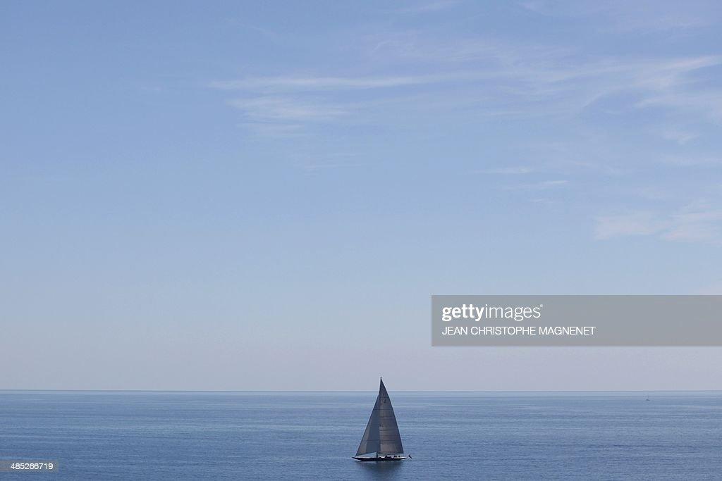 A Hanuman 'J-Class' yacht sails during the Monte-Carlo Rolex masters series tournament, on April 17, 2014 in Monaco.