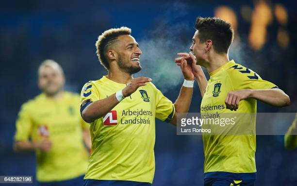 Hany Mukhtar and Gregor Sikosek of Brondby IF celebrate after scoring their first goal during the Danish Alka Superliga match between Brondby IF and...