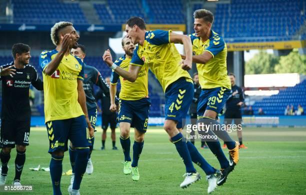 Hany Mukhtar Benedikt Rocker Kasper Fisker and Jan Kliment of Brondby IF celebrate after the Danish Alka Superliga match between Brondby IF and FC...