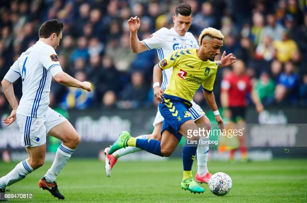 Hany Mukhtar of Brondby IF and Benjamin Verbic of FC Copenhagen compete for the ball during the Danish Alka Superliga match between Brondby IF and FC...