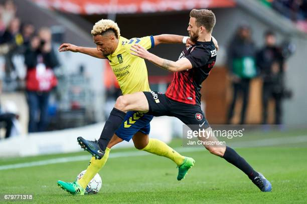 Hany Mukhtar of Brondby IF and Janus Drachmann of FC Midtjylland compete for the ball during the Danish Cup DBU Pokalen semifinal match between FC...