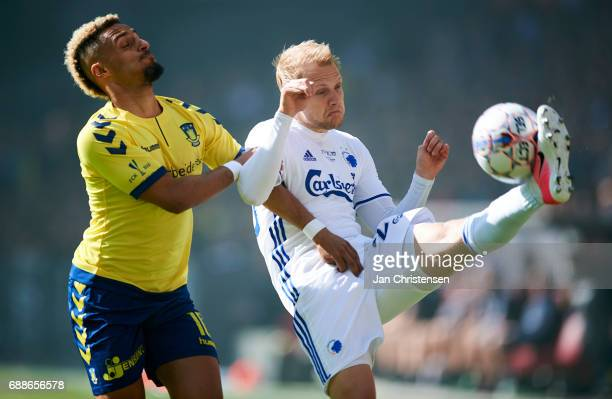 Hany Mukhtar of Brondby IF and Nicolai Boilesen of FC Copenhagen compete for the ball during the Danish Cup Final DBU Pokalen match between FC...