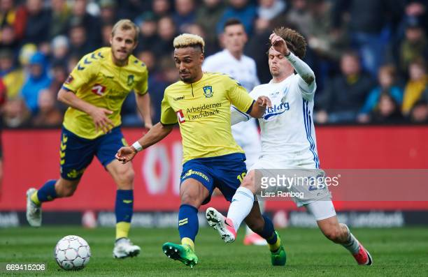 Hany Mukhtar of Brondby IF and Peter Ankersen of FC Copenhagen compete for the ball during the Danish Alka Superliga match between Brondby IF and FC...