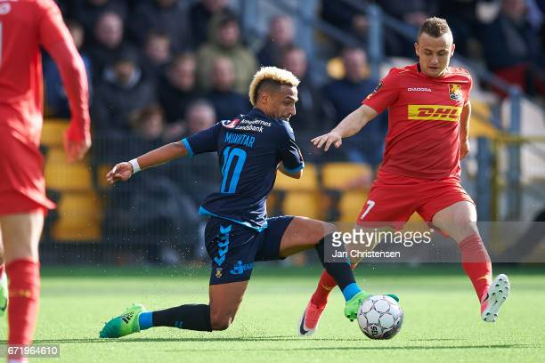Hany Mukhtar of Brondby IF and Stanislav Lobotka of FC Nordsjalland compete for the ball during the Danish Alka Superliga match between FC...