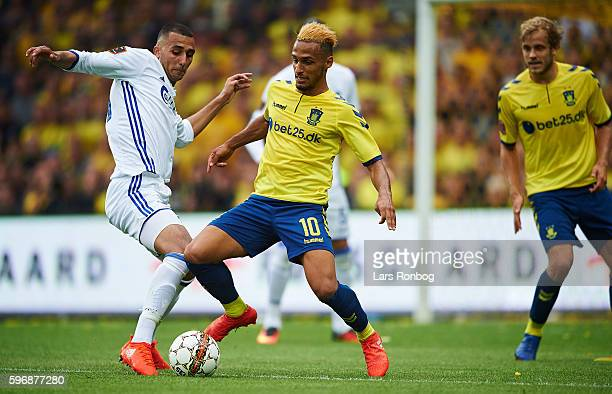 Hany Mukhtar of Brondby IF and Youssef Toutouh of FC Copenhagen compete for the ball during the Danish Alka Superliga match between Brondby IF and FC...