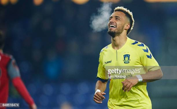 Hany Mukhtar of Brondby IF celebrates after scoring their first goal during the Danish Alka Superliga match between Brondby IF and FC Nordsjalland at...