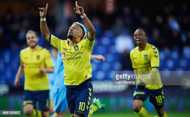 Hany Mukhtar of Brondby IF celebrates after scoring their third goal during the Danish Cup DBU Pokalen quarterfinal match between Randers FC and...