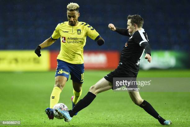 Hany Mukhtar of Brondby IF compete for the ball during the Danish Cup DBU Pokalen match between BK Marienlyst and Brondby IF at Brondby Stadion on...