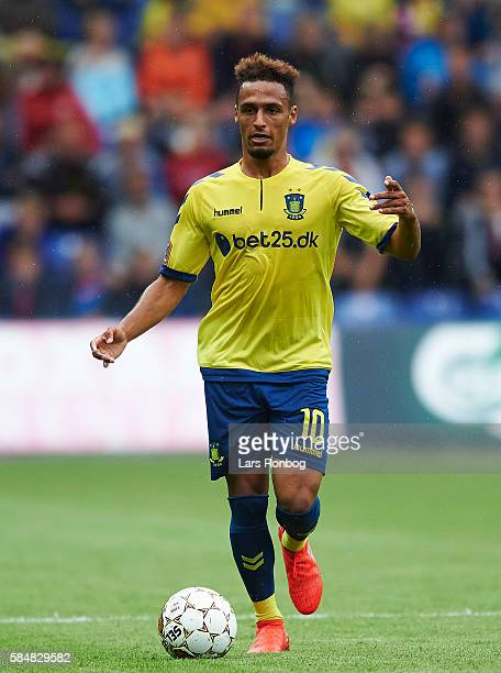 Hany Mukhtar of Brondby IF controls the ball during the Danish Alka Superliga match between Brondby IF and AC Horsens at Brondby Stadion on July 31...