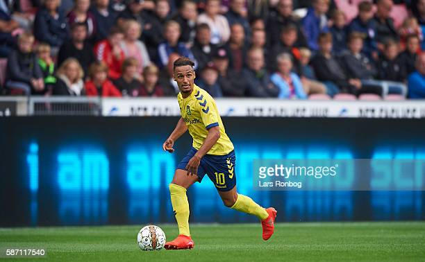 Hany Mukhtar of Brondby IF controls the ball during the Danish Alka Superliga match between FC Midtjylland and Brondby IF at MCH Arena on August 7...