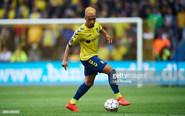 Hany Mukhtar of Brondby IF controls the ball during the Danish Alka Superliga match between Brondby IF and Sonderjyske at Brondby Stadion on August...
