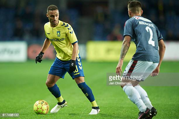Hany Mukhtar of Brondby IF controls the ball during the Danish Alka Superliga match between Brondby IF and AGF Arhus at Brondby Stadion on October 23...