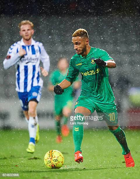 Hany Mukhtar of Brondby IF controls the ball during the Danish Alka Superliga match between OB Odense and Brondby IF at EWII Park on November 20 2016...