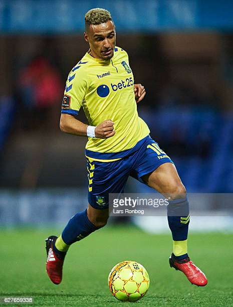 Hany Mukhtar of Brondby IF controls the ball during the Danish Alka Superliga match between Esbjerg fB and Brondby IF at Blue Water Arena on December...