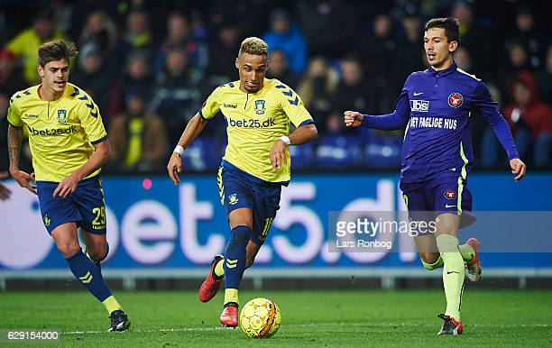 Hany Mukhtar of Brondby IF controls the ball during the Danish Alka Superliga match between Brondby IF and FC Midtjylland at Brondby Stadion on...