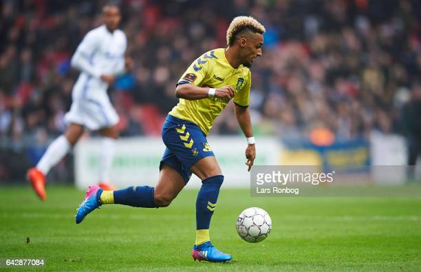 Hany Mukhtar of Brondby IF controls the ball during the Danish Alka Superliga match between FC Copenhagen and Brondby IF at Telia Parken Stadium on...