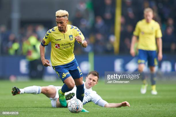 Hany Mukhtar of Brondby IF controls the ball during the Danish Alka Superliga match between Brondby IF and FC Midtjylland at Brondby Stadion on April...