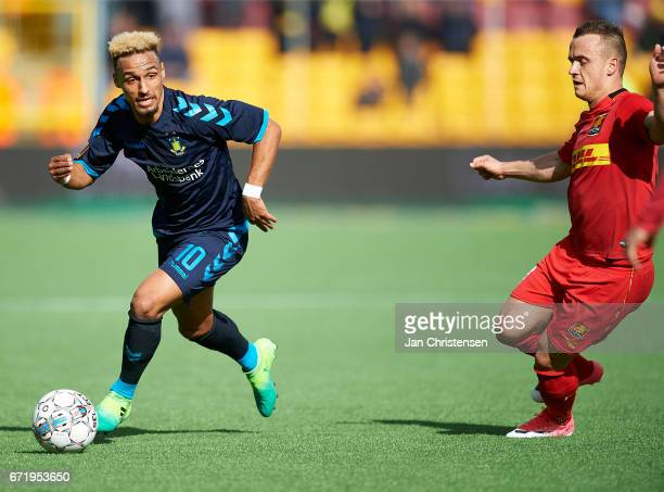 Hany Mukhtar of Brondby IF controls the ball during the Danish Alka Superliga match between FC Nordsjalland and Brondby IF at Right to Dream Park on...