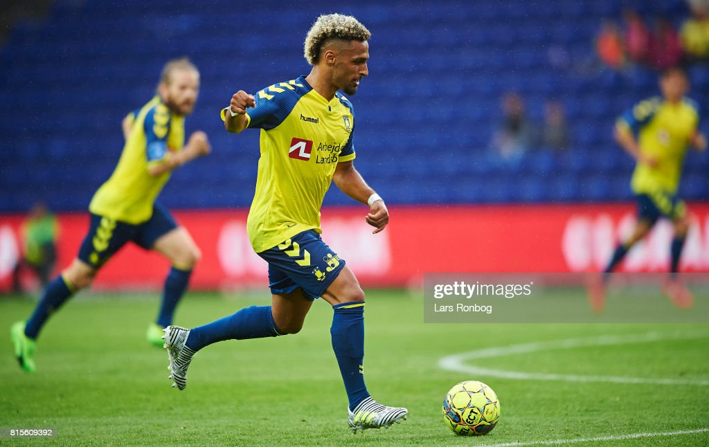 Hany Mukhtar of Brondby IF controls the ball during the Danish Alka Superliga match between Brondby IF and FC Midtjylland at Brondby Stadion on July 16, 2017 in Brondby, Denmark.