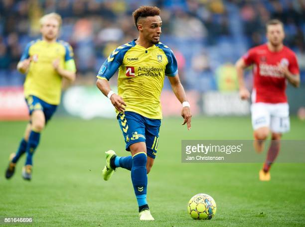 Hany Mukhtar of Brondby IF controls the ball during the Danish Alka Superliga match between Brondby IF and Silkeborg IF at Brondby Stadion on October...