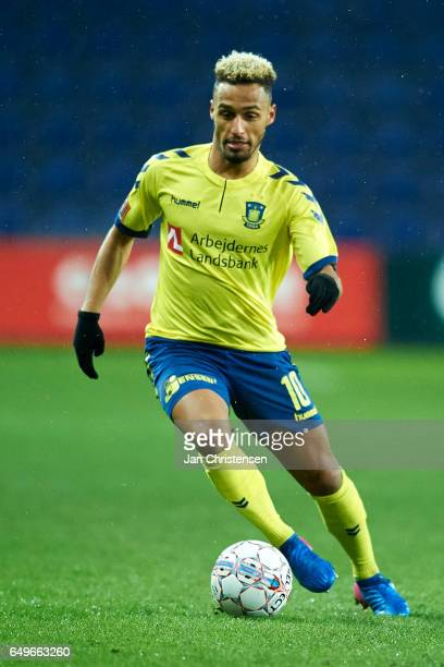 Hany Mukhtar of Brondby IF controls the ball during the Danish Cup DBU Pokalen match between BK Marienlyst and Brondby IF at Brondby Stadion on March...