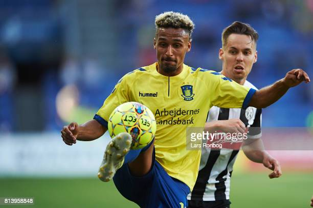 Hany Mukhtar of Brondby IF controls the ball during the UEFA Europa League Qualification match between Brondby IF and VPS Vaasa at Brondby Stadion on...