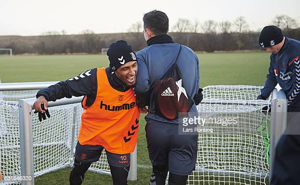 Hany Mukhtar of Brondby IF fighting for fun with Svenn Crone of Brondby IF after the Brondby IF training session at Brondby Stadion on January 12...