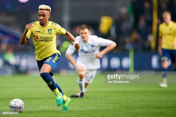 Hany Mukhtar of Brondby IF in action during the Danish Alka Superliga match between Brondby IF and FC Midtjylland at Brondby Stadion on April 17 2017...