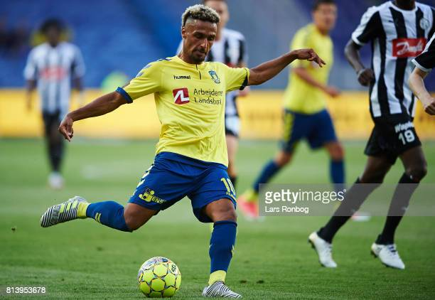 Hany Mukhtar of Brondby IF in action during the UEFA Europa League Qualification match between Brondby IF and VPS Vaasa at Brondby Stadion on July 13...