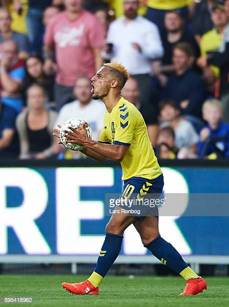 Hany Mukhtar of Brondby IF shows frustration during the UEFA Europa League playoff 1st leg match between Brondby IF and Panathinaikos at Brondby...